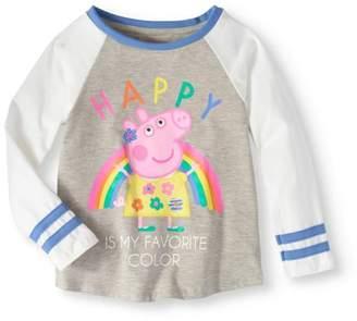 "Peppa Pig Little Girls' 4-6X ""Happy is My Favorite Color"" Varsity Stripe 3/4 Sleeve T-Shirt"