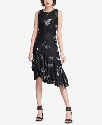 DKNY Floral Asymmetrical A-Line Dress