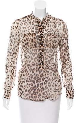 Equipment Leopard Print Silk Blouse