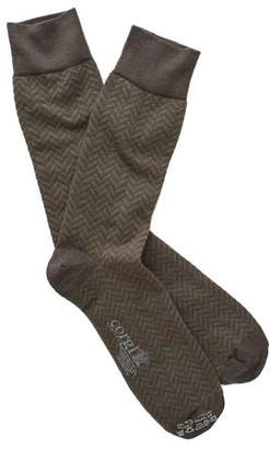 Corgi Herringbone Socks in Olive