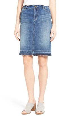 Women's Caslon Release Hem Denim Pencil Skirt $69 thestylecure.com