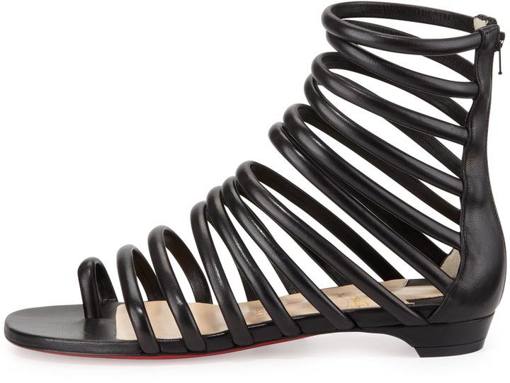 Christian Louboutin Catchetta Napa Gladiator Sandal, Black