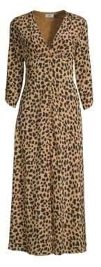 Rixo Silk Katie Leopard Print Midi Dress