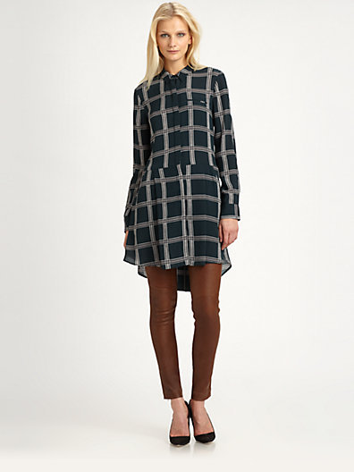 A.L.C. Suss Silk Plaid Shirtdress