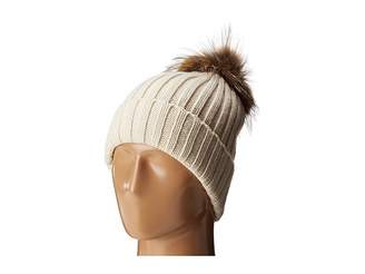 Hat Attack Chunky Rib Beanie with Snap-Off Faux Pom and Extra Hangoff