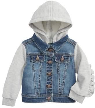 Tucker + Tate Mixed Media Ruffle Hooded Jacket