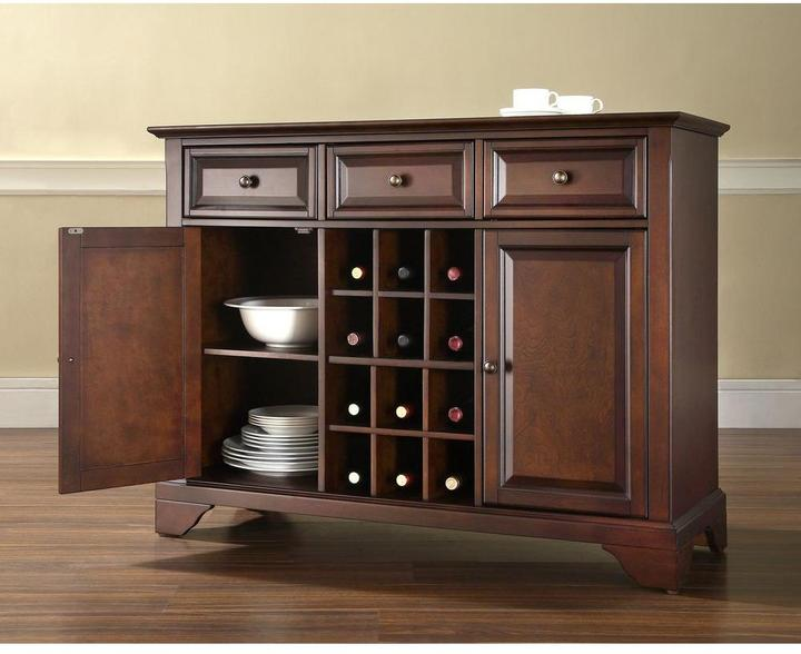 Crosley LaFayette Mahogany Buffet Server and Sideboard Cabinet with Wine Storage