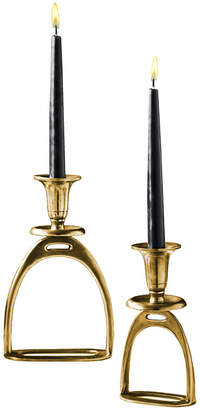 Twos Company Stirrup Set of 2 Antique Gold Tapered Candle Holders Includes 2 Sizes