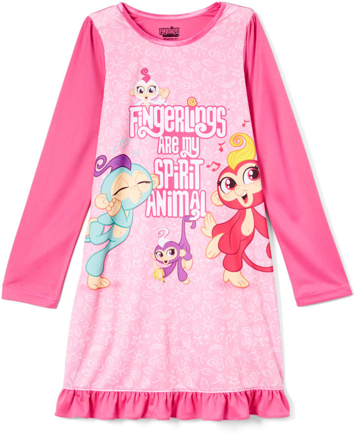 Pink Ruffle Fingerlings Nightgown - Girls