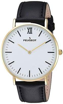 Peugeot Men's '14K Gold Plated' Quartz Metal and Leather Casual Watch