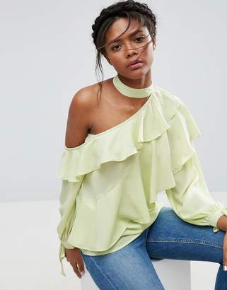 Asos Ruffle Blouse With Exposed Shoulder & Neck Band