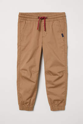 H&M Cotton Pull-on Pants - Beige