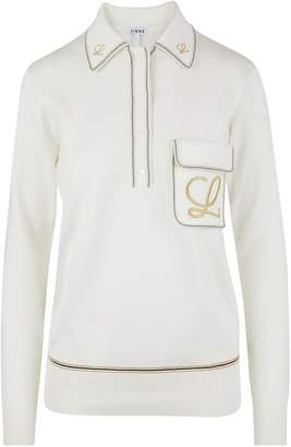 Loewe Embroidered polo neck jumper.