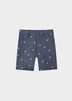 Paul Smith Boys' 8 + Years Navy Embroidered 'Bicycle' Cotton Shorts