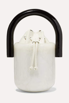 Cult Gaia Olivia Acrylic And Leather Bucket Bag - White