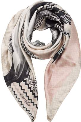 Marina D'Este Zig-Zag and Flower Printed Twill Silk Square Scarf