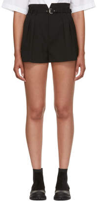 RED Valentino Black High-Waist Buckle Shorts