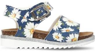 MonnaLisa Daisy Print Faux Patent Leather Sandals