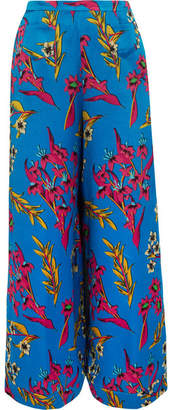 Etro Floral-print Hammered Silk-satin Wide-leg Pants - Blue