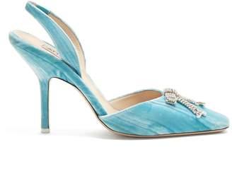 Crystal Bow Velvet Slingback Pumps - Womens - Light Blue