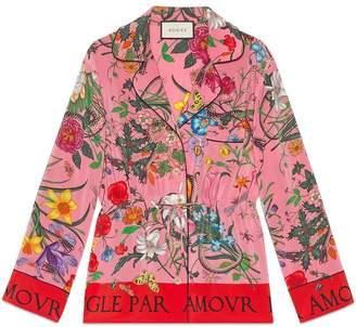 Gucci Flora print silk shirt