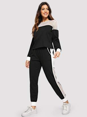 Shein Fishnet Insert Pullover & Sweatpants Activewear Set