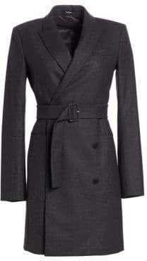 Theory Wool Double-Breasted Blazer Dress