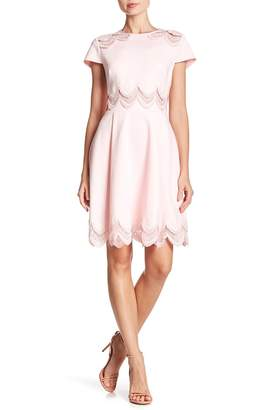 Ted Baker Embroidered Cap Sleeve Skater Dress
