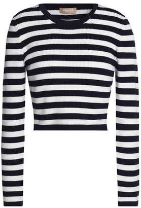 Michael Kors Cropped Striped Merino Wool-Blend Sweater