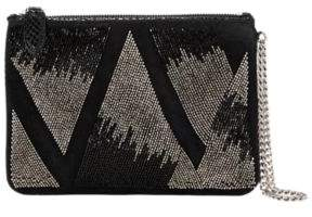 Ralph Lauren Beaded Leather-Suede Pouch Black One Size