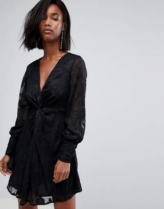 boohoo Gathered Sleeve Twist Front Devore Dress