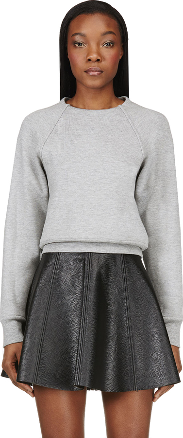 Alexander Wang Grey Melange Double Faced Cross Sweatshirt