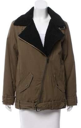 The Kooples Sport Faux Fur-Trimmed Asymmetrical Jacket