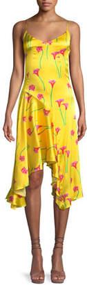 Caroline Constas Marie Floral-Print Asymmetric Slip Dress