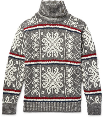 Thom Browne Fair Isle Wool and Mohair-Blend Rollneck Sweater $650 thestylecure.com