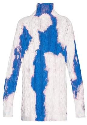 Balenciaga Oversized Bleached High Neck Sweater - Mens - Blue