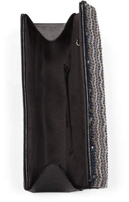 Jessica McClintock Beaded Flap Evening Bag With Chain Shoulder Strap