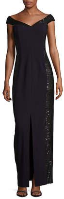 Calvin Klein Slit-Detailed Embellished Dress