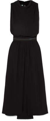 Prada Draped Twill Midi Dress - Black