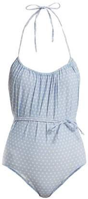 Lisa Marie Fernandez Charlotte Polka Dot Print Halterneck Swimsuit - Womens - Blue Multi
