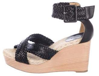 Hermes Woven Leather Wedge Sandals