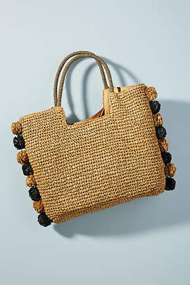 Laurèl + Gold Perfectly Pommed Straw Tote Bag