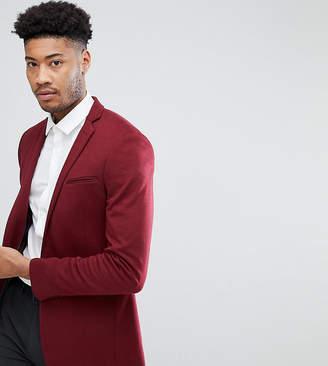 Asos DESIGN Tall super skinny blazer in burgundy jersey