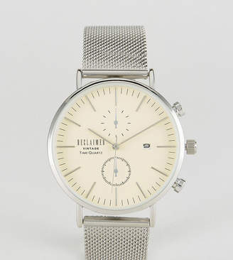 Reclaimed Vintage Inspired Chronograph Mesh Watch In Silver Exclusive to ASOS