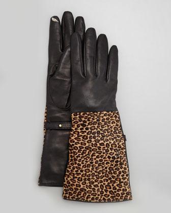 Diane von Furstenberg Gauntlet Calf Hair/Leather Smart Gloves, Leopard/Black