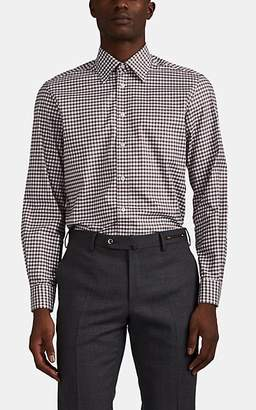 Luciano Barbera Men's Checked Cotton Poplin Shirt - Camel