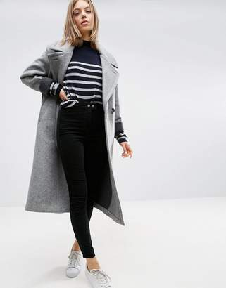 ASOS Coat in Cocoon Fit with Contrast Cuff $143 thestylecure.com