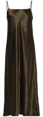 Vince Fluted Satin Midi Slip Dress