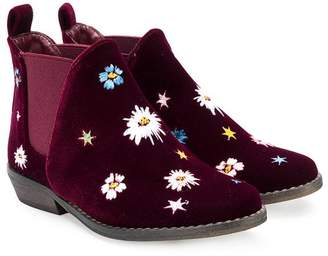 Stella McCartney floral embroidered velvet Chelsea boots