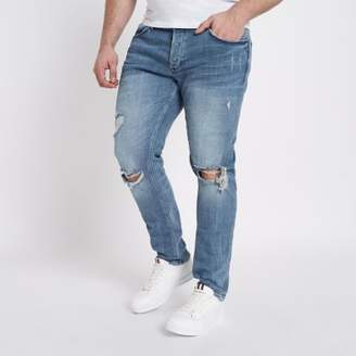River Island Mens Big and Tall Eddy mid blue ripped skinny jean
